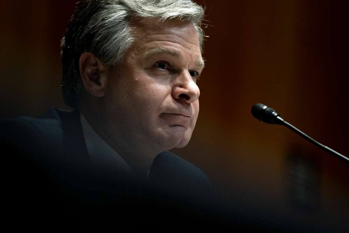FILE - FBI Director Christopher Wray speaks at a Senate Appropriations Subcommittee on Commerce, Justice, Science, and Related Agencies hearing June 23, 2021(Photo by Stefani Reynolds-Pool/Getty Images)
