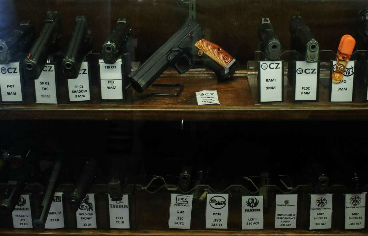 Pistols are for sale Monday, Aug. 30, 2021, at Top Gun Range in Houston.