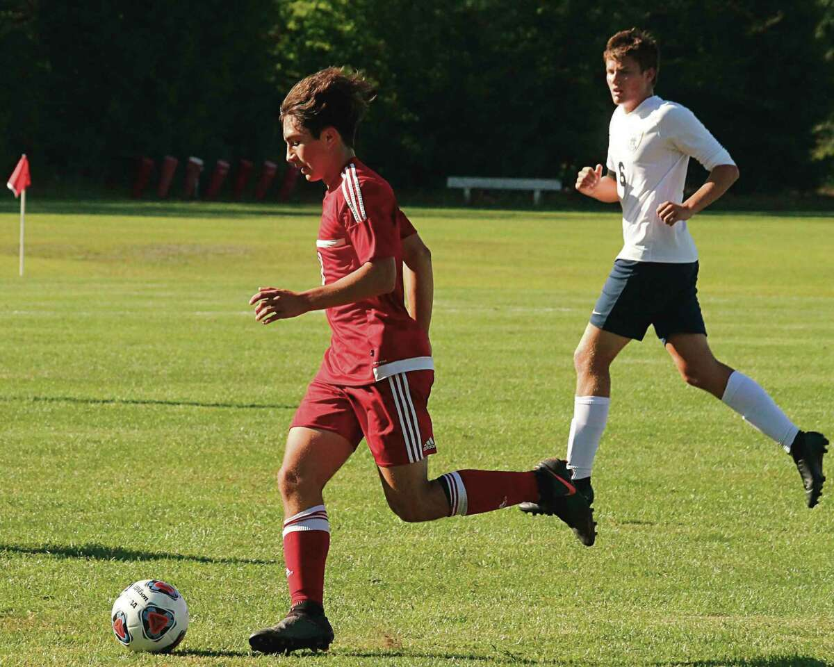 Kevin Hubbell (pictured during Benzie Central's 5-0 loss to Manistee on Sept. 3) is Benzie Central's leading goal scorer for the season. (File photo)