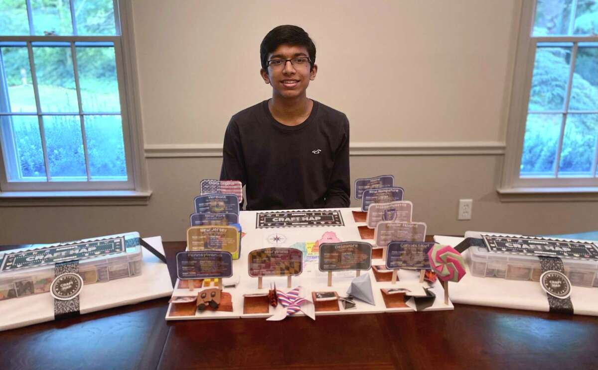 Vihan Jayawardhane, a junior at Wilton High School, created educational kits to teach younger students about historical topics they may not have otherwise learned of.