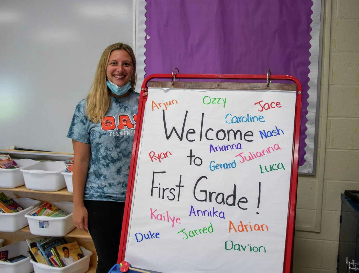 Sara Calechnan, first grade teacher at Orange Avenue School, is ready for her students to come to her class on Wednesday.