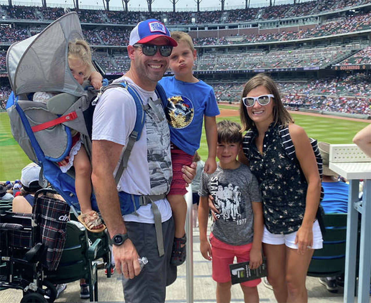Edwardsville graduate Ricky Ricciardi with his wife Julie and their children Luca, Dominic and Lucia at an Atlanta Braves game during a family vacation.
