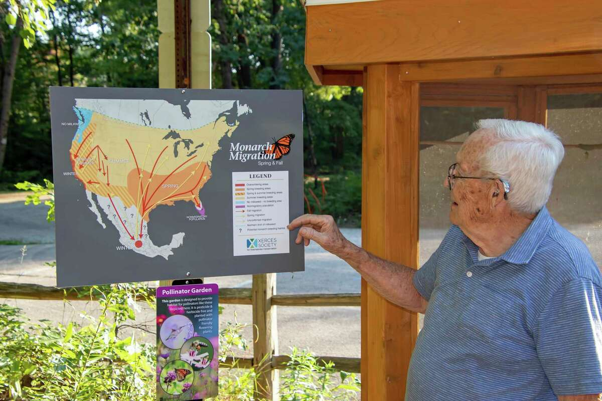 Doug Kent, 86, of Kinde, stands in front of a Monarch Butterfly display at the Huron County Nature Center. Kent collected milkweed pods for the war effort during WWII. Milkweed is the sole food source for Monarch Butterflies. (Courtesy Photo)