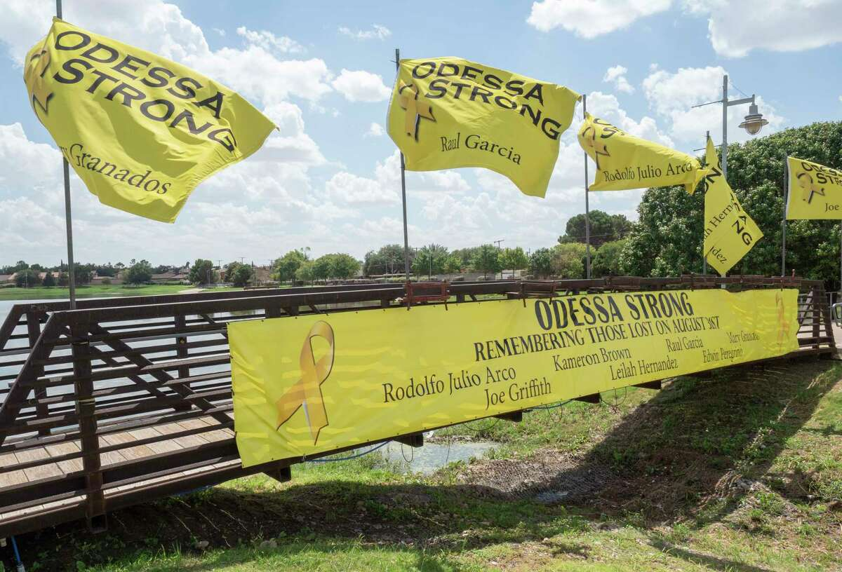 Flags have been placed 08/31/2021 at Memorial Garden Park in Odessa as a memorial to those who lost their lives in the 2019 mass shooting in Odessa. Tim Fischer/Reporter-Telegram