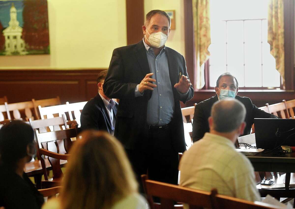 James Cormier delivers Romano Brothers Builders final presentation for the Center School redevelopment at Town Hall in Stratford, Conn. on Tuesday, August 31, 2021. Romano Brothers was one of two finalists for the project along with Spirit Investment Partners.