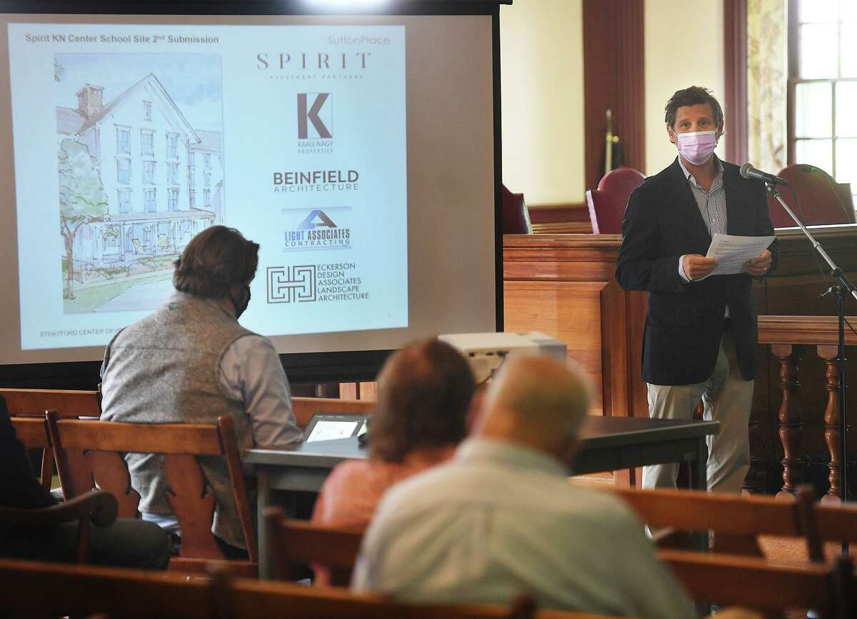 Damien Kauli-Nagy delivers Spirit Investment Partners final presentation for the Center School redevelopment at Town Hall in Stratford, Conn. on Tuesday, August 31, 2021. Spirit was one of two finalists for the project along with Romano Brothers Builders.