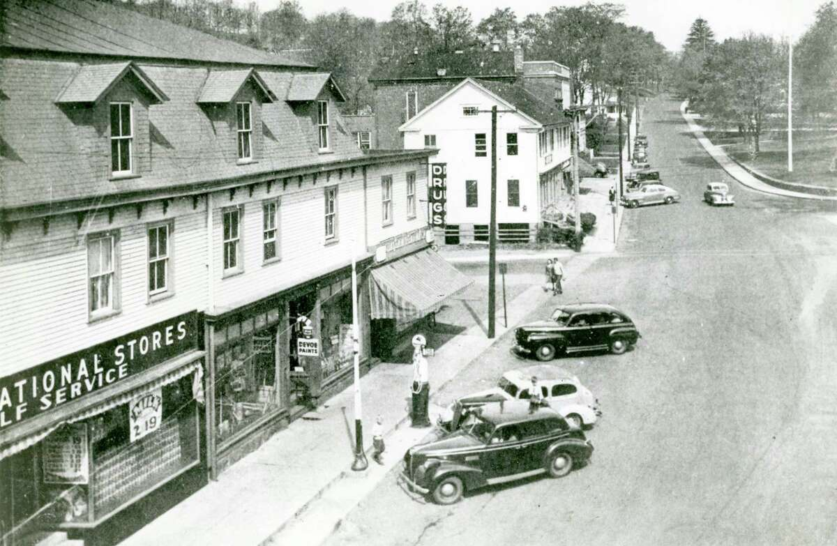 A view of downtown East Hampton is shown in this photo from the 1940s.