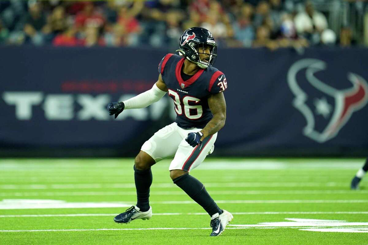 Houston Texans defensive back Jonathan Owens (36) drops in coverage during an NFL preseason football game against the Tampa Bay Buccaneers, Saturday, Aug. 28, 2021, in Houston. (AP Photo/Matt Patterson)