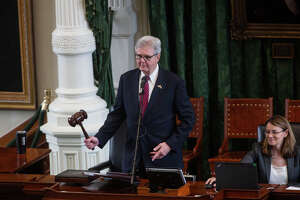 Texas Lt. Gov. Dan Patrick gavels in the Senate to begin the session as lawmakers debate the GOP voting and elections bill at the Capitol in Austin, Texas on Tuesday, Aug. 31, 2021. (Mikala Compton/Austin American-Statesman via AP)