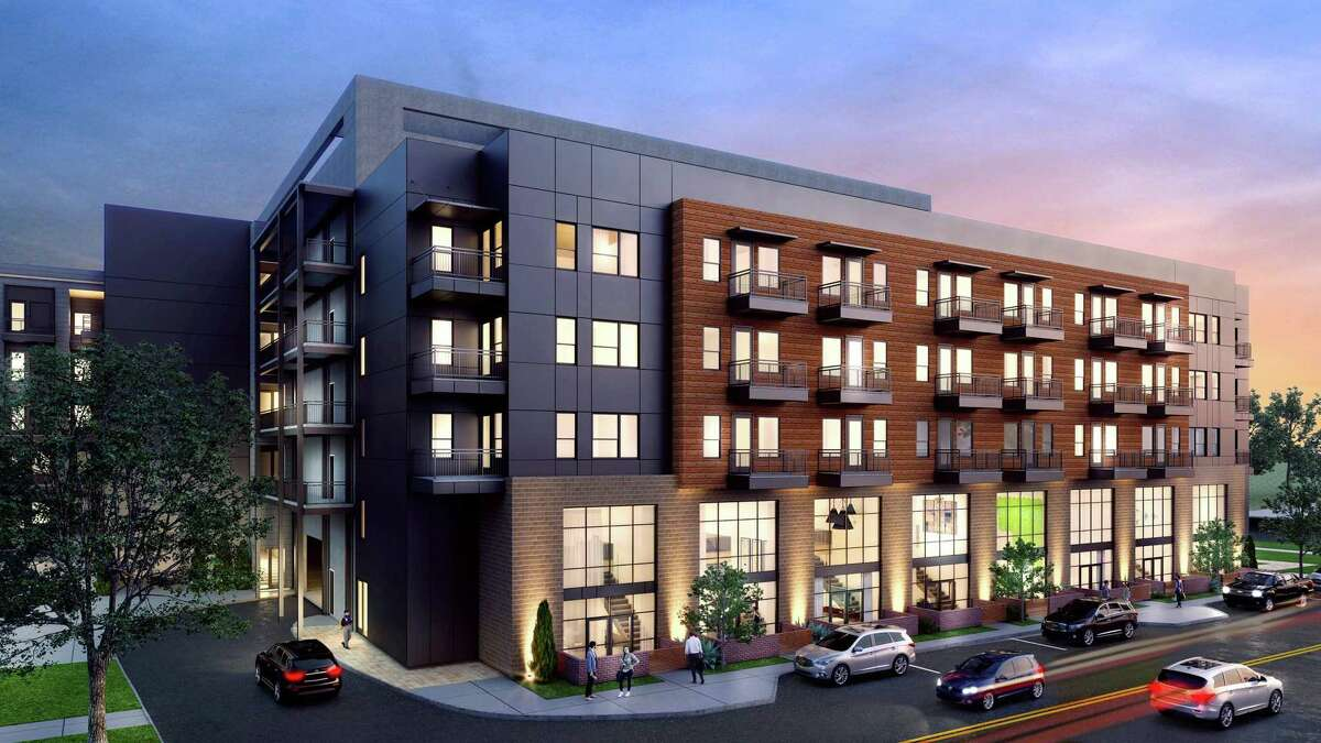 Renderings of the apartments Encore Multi-Family LLC plans to build at 1203 Austin St. near the Pearl.