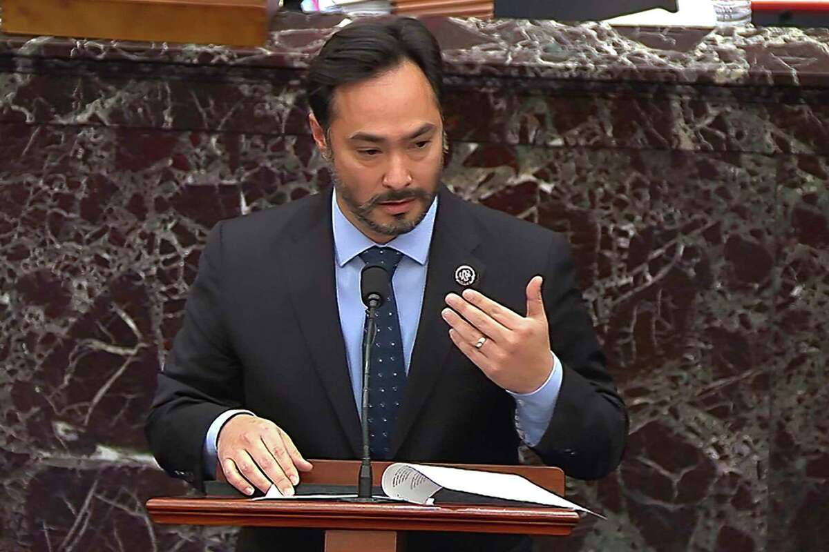 In this image from video, Rep. Joaquin Castro, D-San Antonio, answers a question from a senator during the second impeachment trial of former President Donald Trump in the Senate at the U.S. Capitol in Washington, Friday, Feb. 12, 2021. (Senate Television via AP)