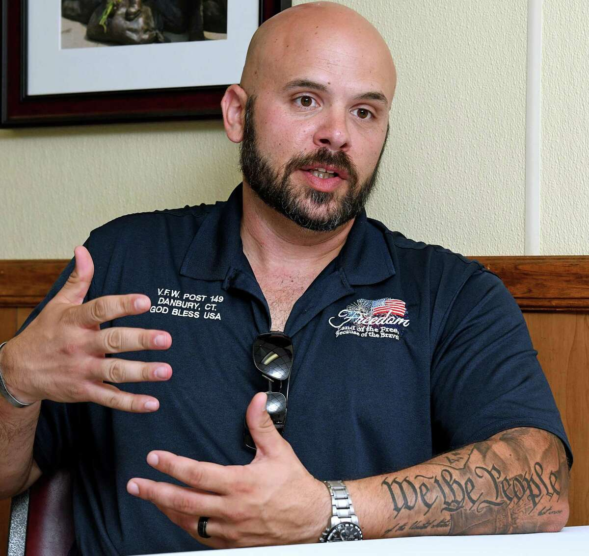 David Vieira of New Milford, an Army veteran of the war in Afganistan, talks about the current situation. He is a Junior Vice Commander with the VFW Post 149 in Danbury. Photo Monday, August 30, 2021.
