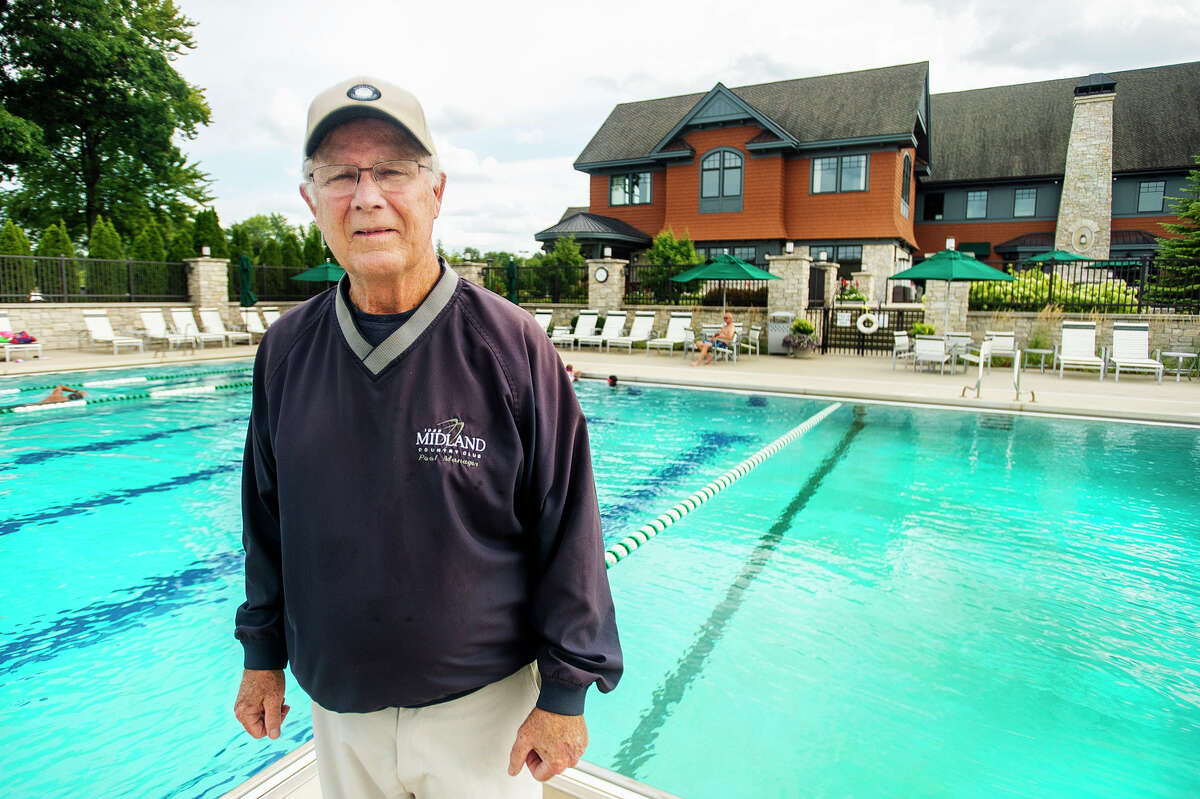 Tom Messinger poses for a portrait Tuesday, Aug. 31, 2021 at the Midland Country Club pool. (Katy Kildee/kkildee@mdn.net)