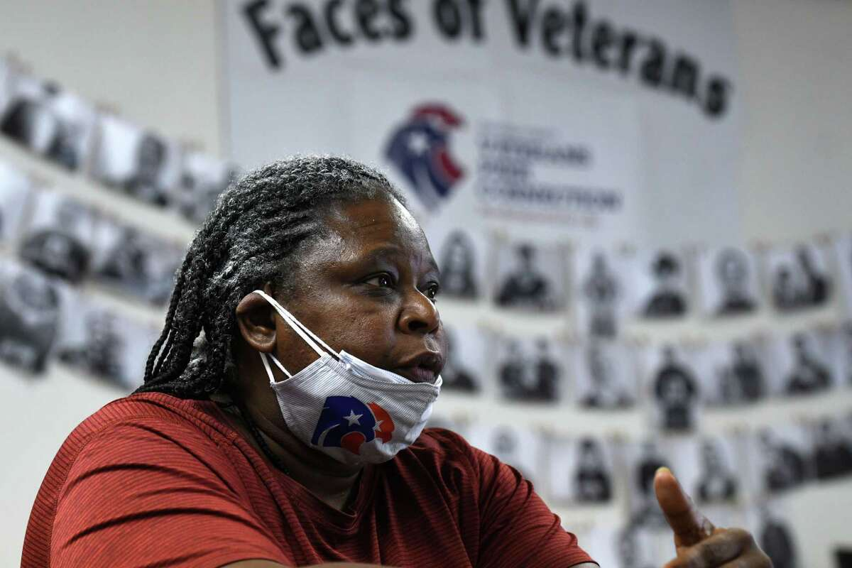 Army veteran Sandra Moody talks about her experience serving in Afghanistan on Tuesday, Aug. 31, 2021, during an interview at the Saratoga County Veterans Service Agency in Ballston, N.Y.