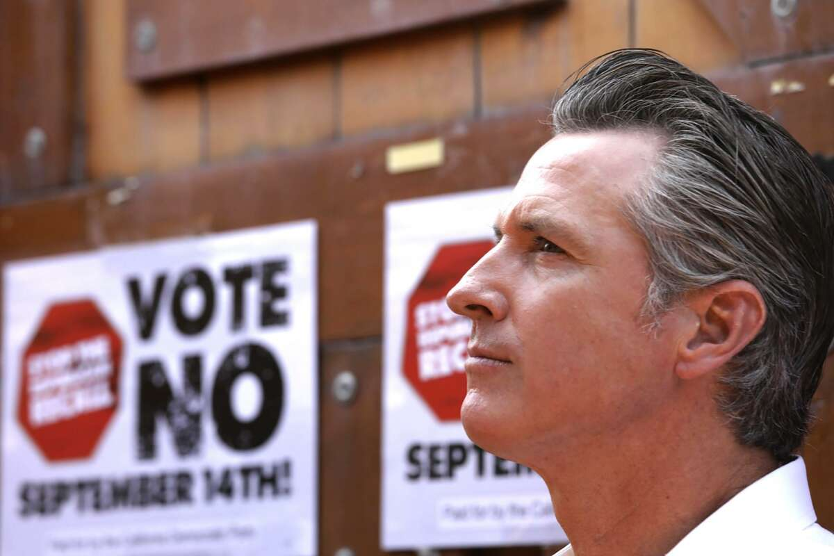 California Gov. Gavin Newsom meets with Latino leaders to vote no on the recall election at Hecho en Mexico restaurant in East Los Angeles on Aug. 14. A lawsuit challenging Newsom's death penalty moratorium was dismissed Wednesday by a Sacramento judge.