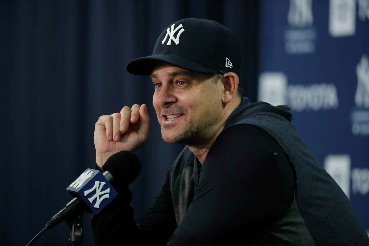 New York Yankees manager Aaron Boone speaks during a news conference after a spring training workout on Feb. 13, 2020, in Tampa, Fla.
