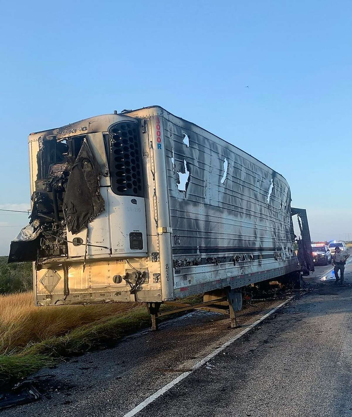 U.S. Border Patrol agents said 64 migrants were being transported in this trailer. It's not clear what caused the fire. Agents encountered the migrants after canvassing the surrounding area.