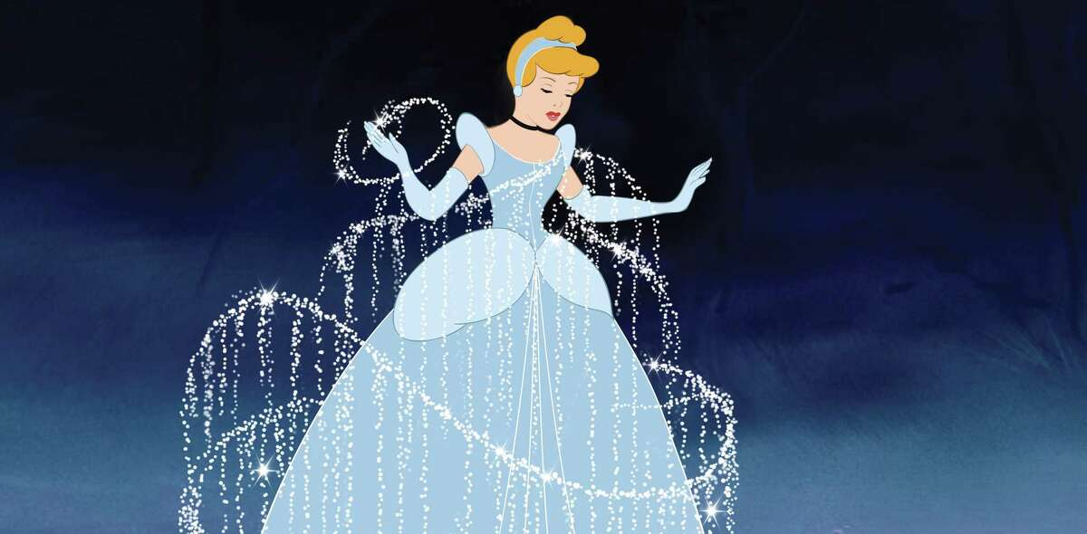 Cinderella's ragged dress is transformed into a wondrous ballgown in the 1950 animated movie.