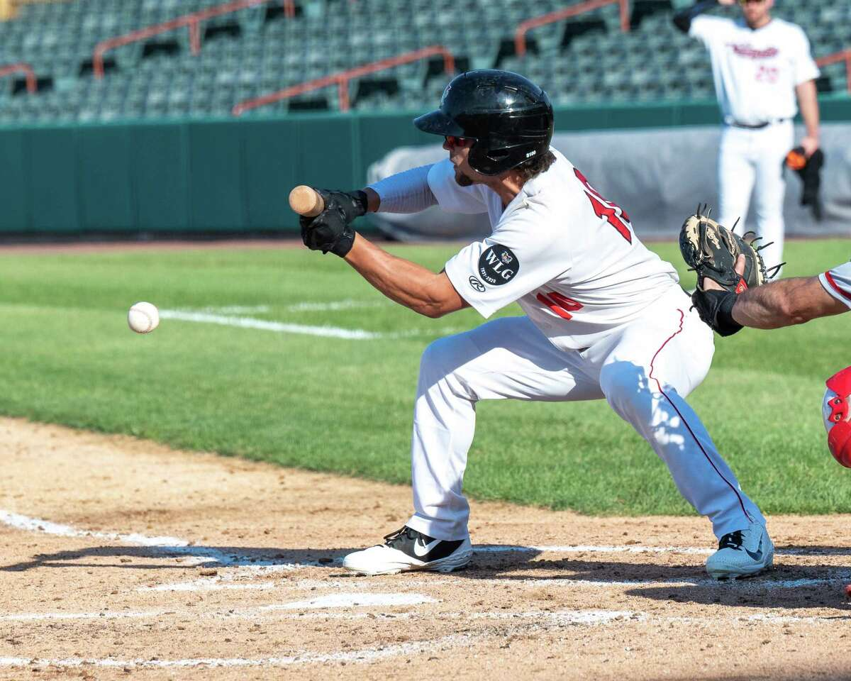 Tri-City ValleyCats right fielder Jake Barbee lays down a sacrifice bunt against the New Jersey Jackals at the Joseph L. Bruno Stadium on the Hudson Valley Community College campus in Troy, NY, on Tuesday, Aug. 31, 2021. (Jim Franco/Special to the Times Union)