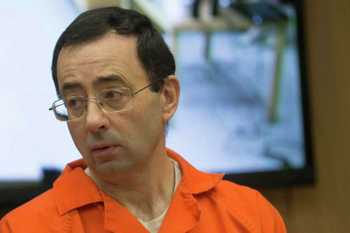 Former Michigan State University and USA Gymnastics doctor Larry Nassar appears in court for his final sentencing phase in Eaton County Circuit Court on Feb. 5, 2018, in Charlotte, Michigan. (Rena Laverty/AFP via Getty Images/TNS)