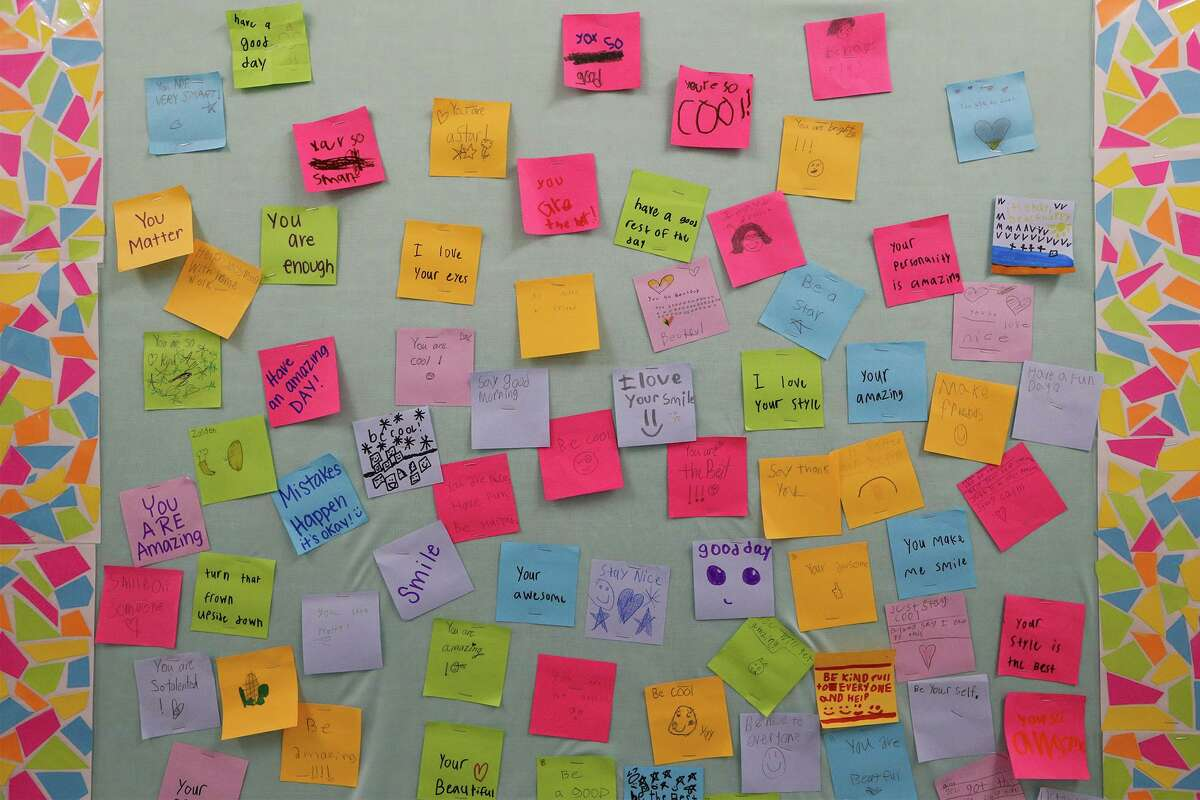 Affirmations written by students and posted on a hallway bulletin board at Compass Rose Journey School in Windcrest on Aug. 25.
