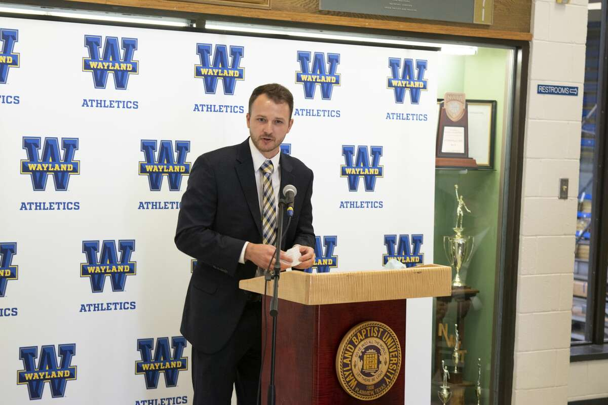 Clint Galyean was officially introduced as the new head coach of the Wayland Baptist men's basketball team with a press conference on Tuesday afternoon in the Hutcherson Center.