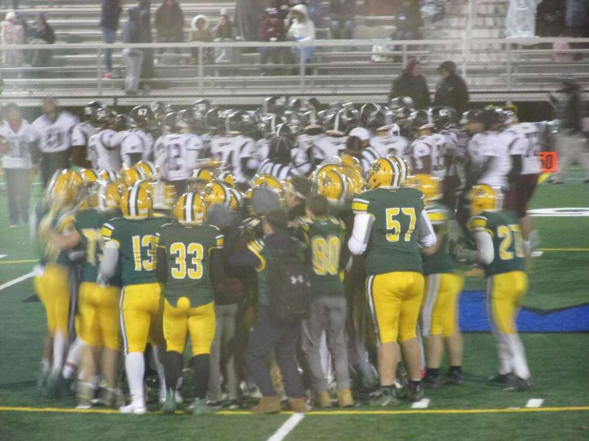 Holy Cross came out on top of an even match-up with Torrington Friday night at Waterbury's Municipal Stadium on Friday, Nov. 8, 2019.