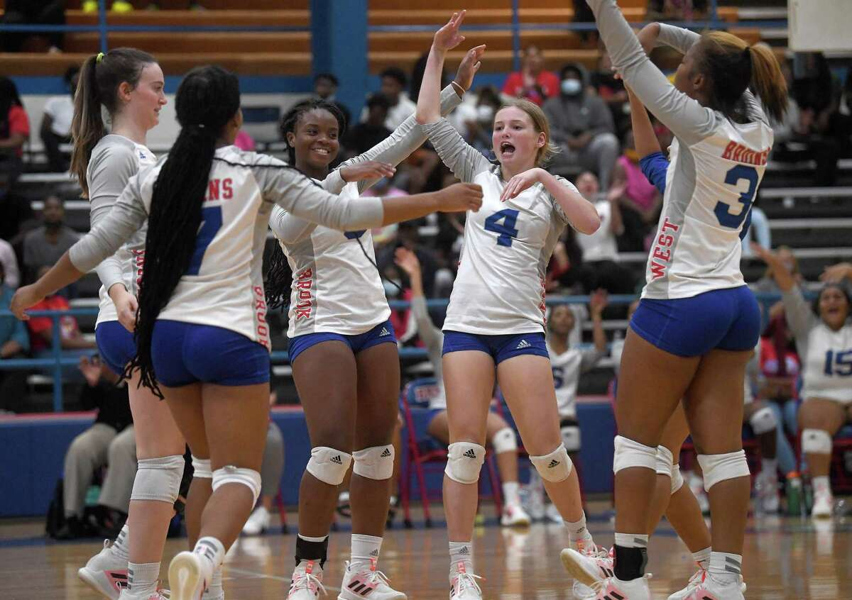 West Brook's Lady Bruins celebrate an advance over Beaumont United during Tuesday's match-up at West Brook. Photo made Tuesday, August 31, 2021 Kim Brent/The Enterprise