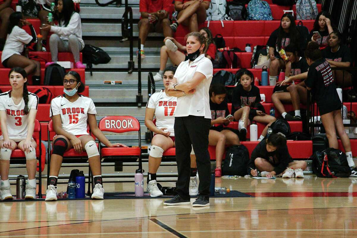 Clear Brook volleyball coach Meredith Thompson watches as the Lady Wolverines play Summer Creek Tuesday at Clear Brook High School.