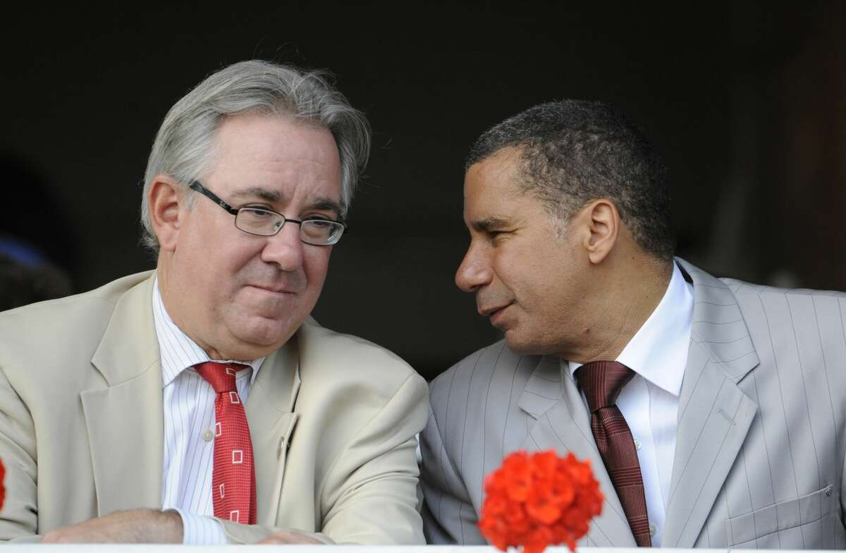 Racing and Wagering Commissioner John Sabini speaks listens to Governor David Paterson before the running of the 141st running of The Travers Stakes won at the Saratoga Race Course in Saratoga Springs this evening August 28, 2010. (Skip Dickstein/Times Union)