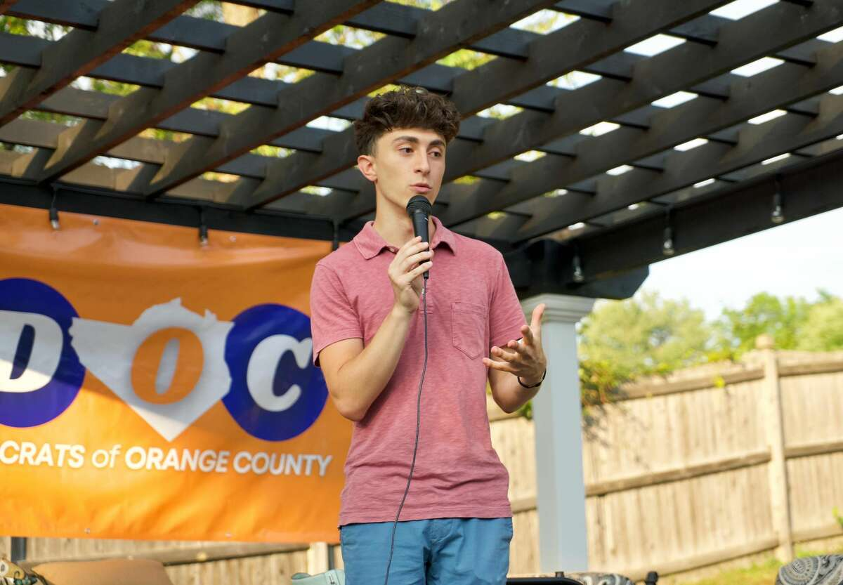 Goshen resident Zachary Constantine, pictured above speaking at a Young Democrats of Orange County fundraiser, posted a video on TikTok capturing his comments at a Goshen Town Board meeting last week about the town's marijuana policy.