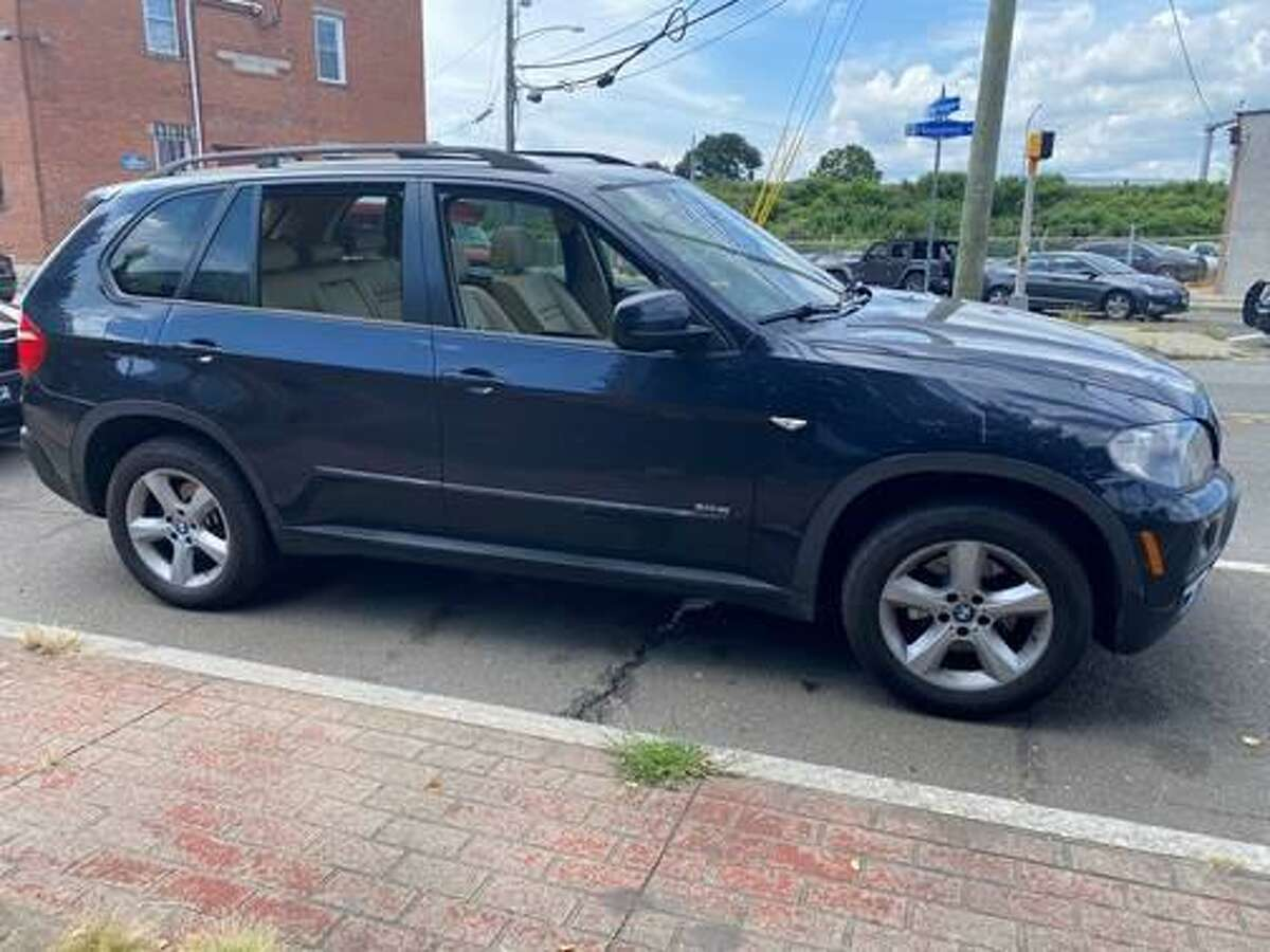 The vehicle police say was used in the shootings in Bridgeport, Conn., on Tuesday, Aug. 31, 2021.