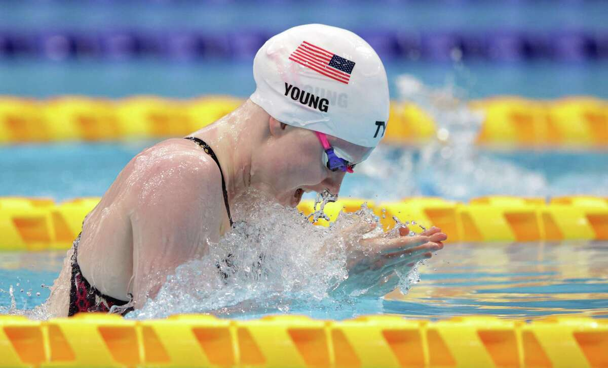 Colleen Young of Team United States competes in the Women's 100m Breaststroke SB13 Heat 2 on Day Eight of the Tokyo 2020 Paralympic Games at Tokyo Aquatics Centre on Wednesday in Tokyo.