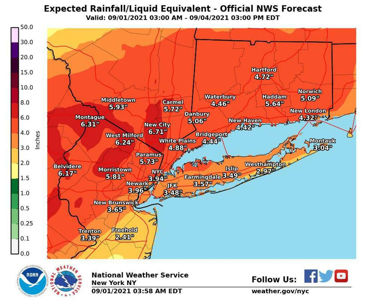 Connecticut is under a flash flood watch from 8 a.m. Wednesday, Sept. 1, 2020, to 2 p.m. Thursday, Sept. 2. The National Weather Service has offered these rainfall total predictions for the area.