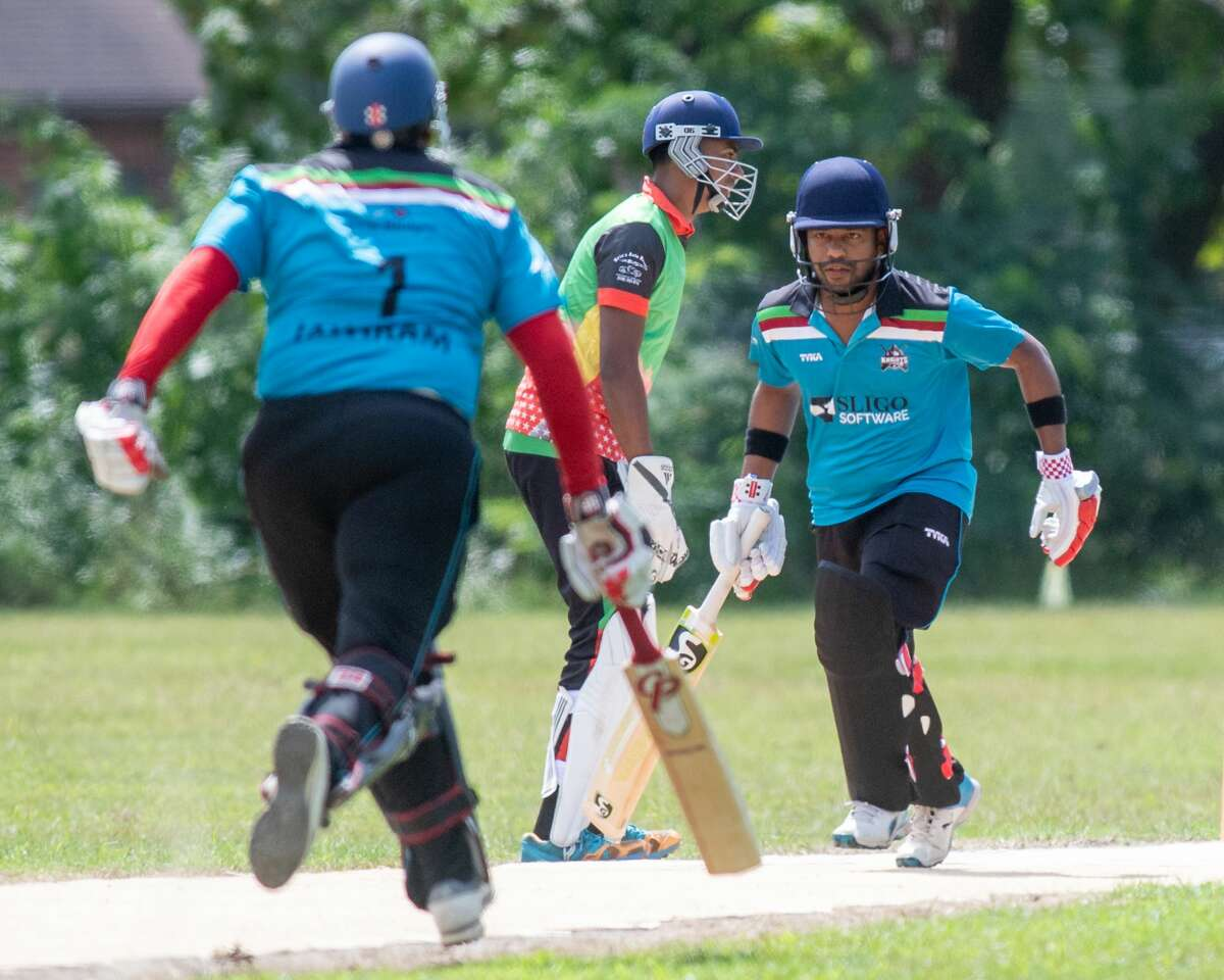 A cricket match between the Albany Knights and the Schenectady Jaguars at the Grout Athletic Field in Schenectady, NY, on Saturday, Aug. 21, 2021. (Jim Franco/Special to the Times Union)