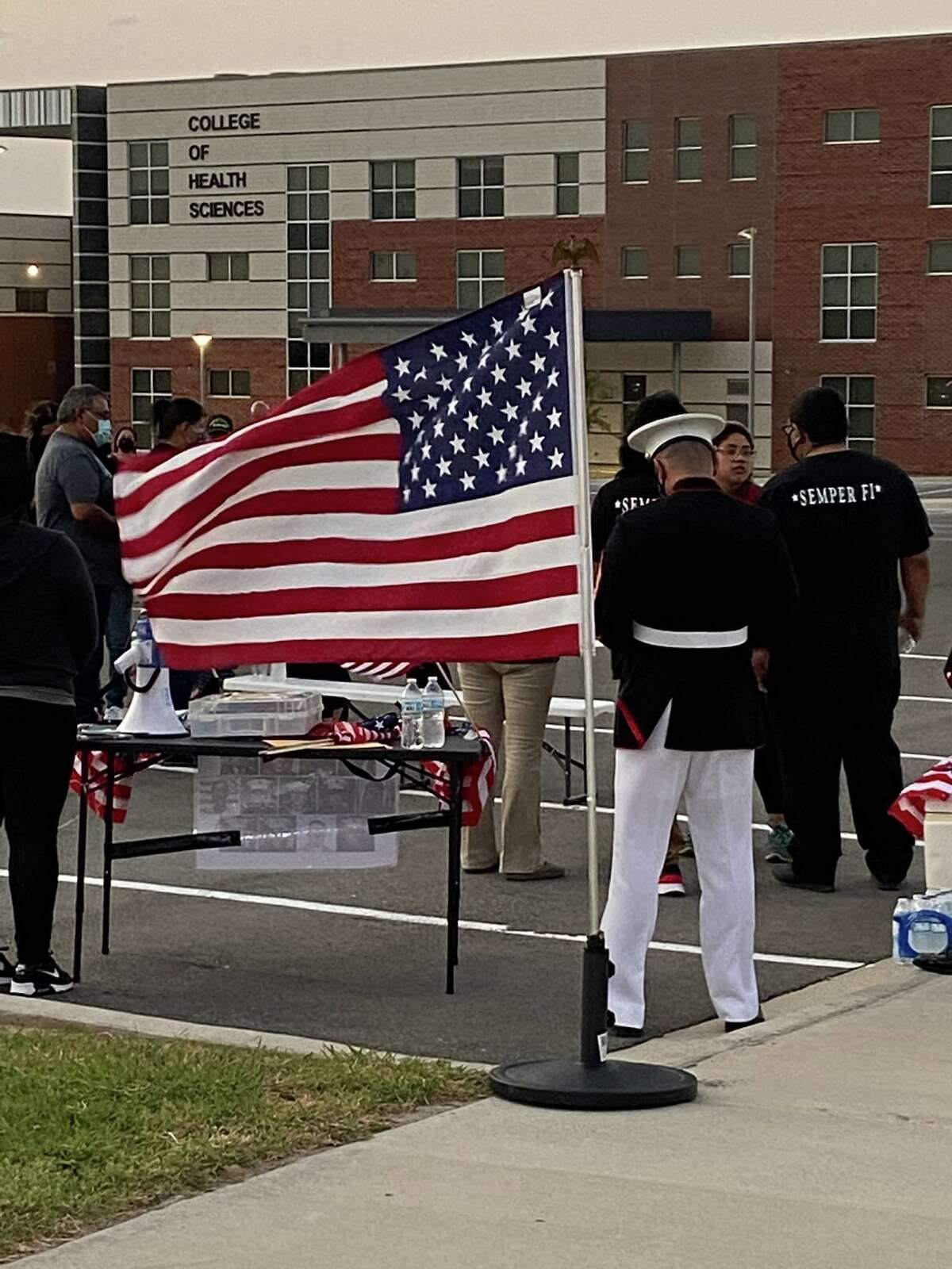 Locals gathered at Laredo College to remember Lance Cpl. David Lee Espinoza after he was killed in the attack in Afghanistan last week.