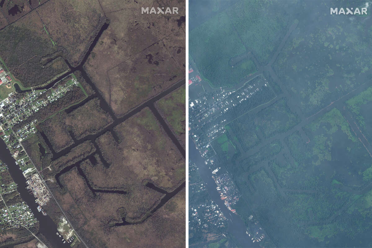 Satellite photos show parts of Louisiana from the sky, before and after the devastation of Hurricane Ida in August2021.