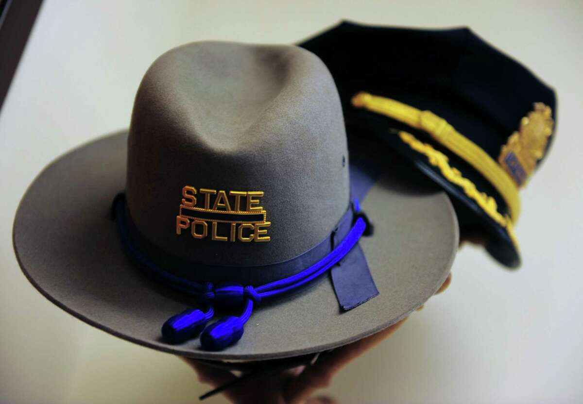 A file photo of a state police stetson hat, front, worn by all sworn troopers in Connecticut.