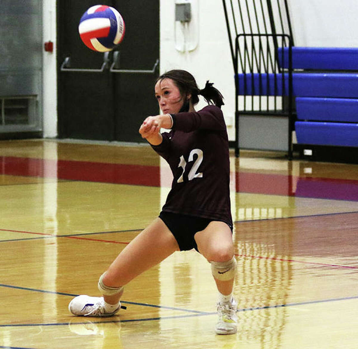 EA-WR's Zenn Wilson passes during a match at last week's Roxana Tourney. Wilson and the Oilers were home Tuesday night and swept Southwestern in two sets.