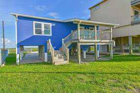 This beach house is for rent in Galveston.