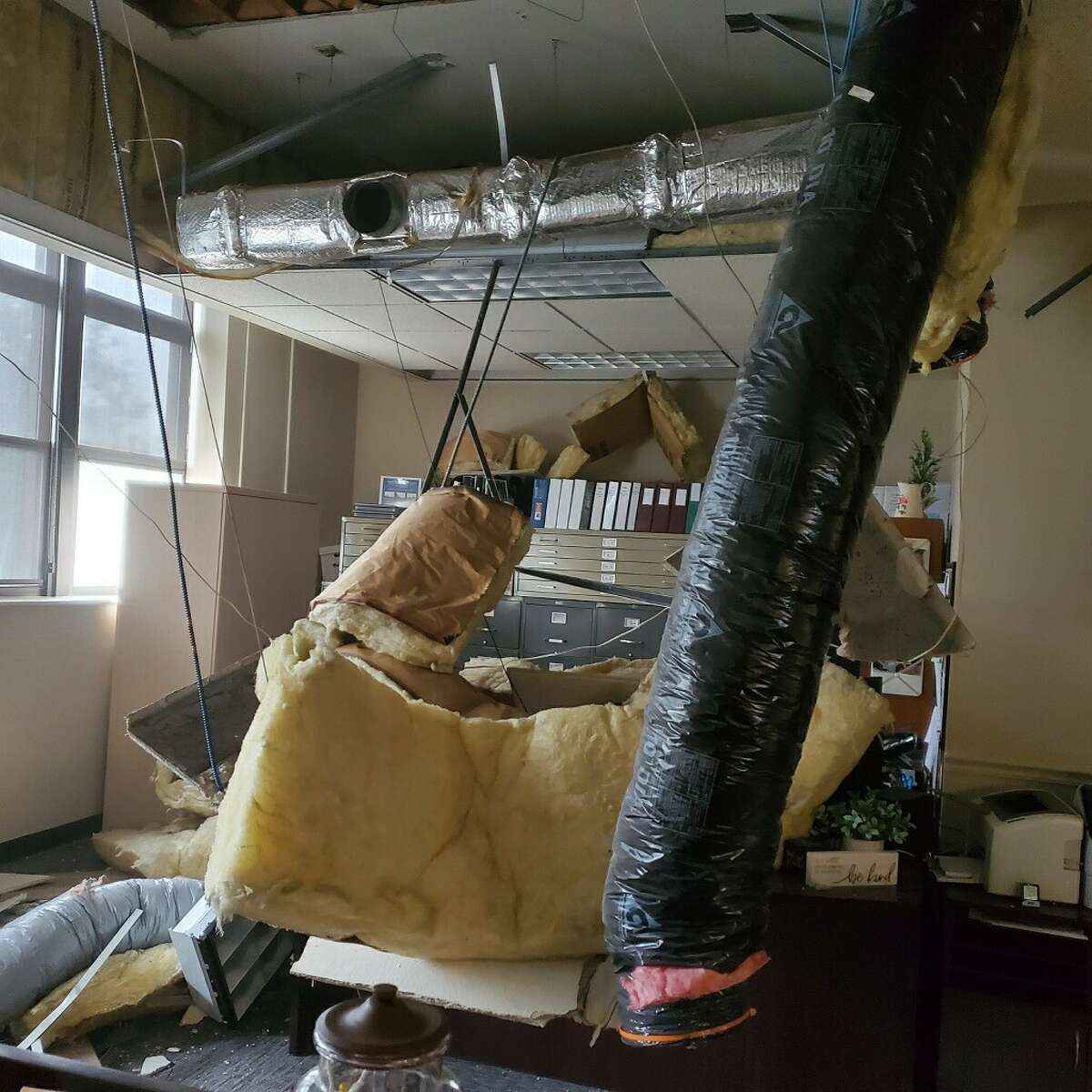 East Greenbush town clerk's office after ceiling collapsed at Town Hall on Wednesday Sept. 1, 2021.