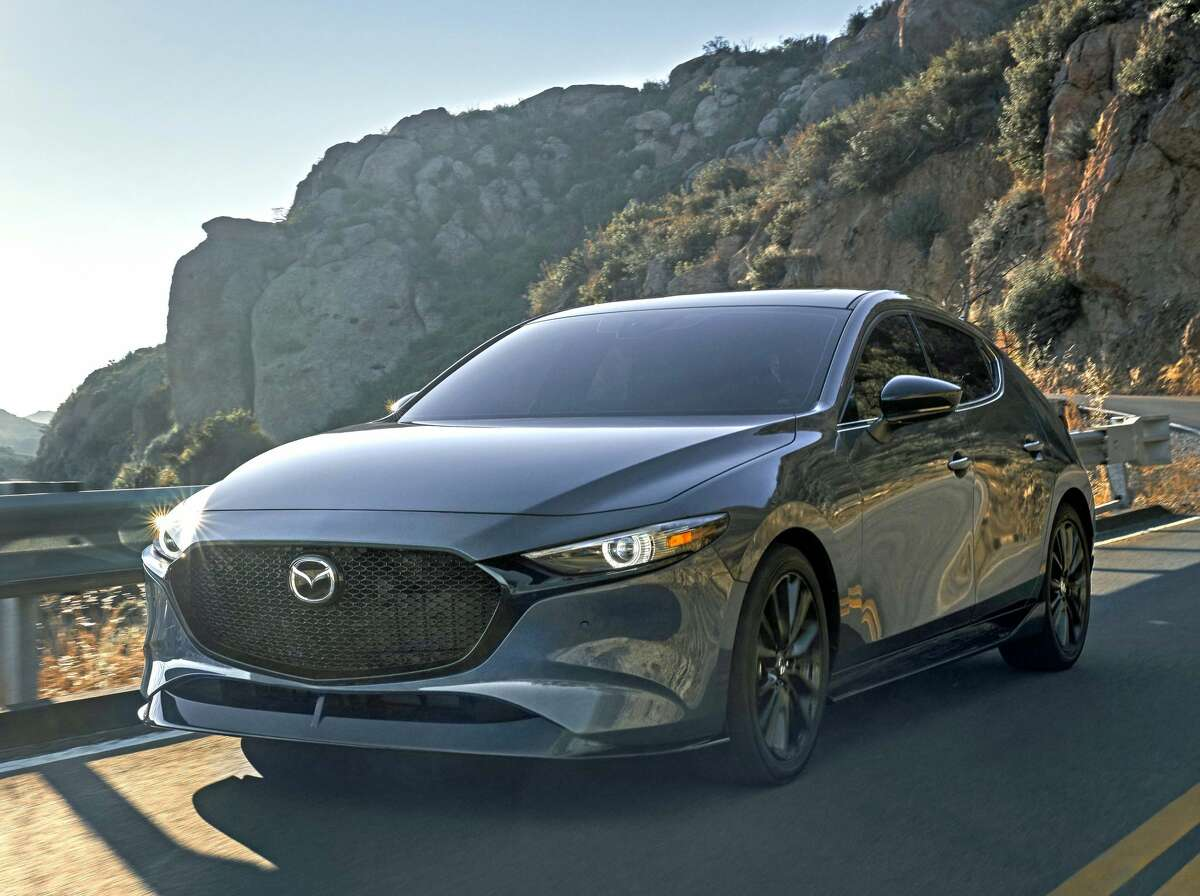 The 2021 Mazda 3 Turbo Hatchback has a 2.5-liter four-cylinder engine that produces up to 250 horsepower and 320 foot-pounds of torque..