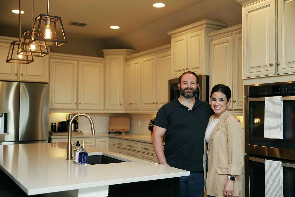 Cameron and Elsa Granato in their newly renovated kitchen.