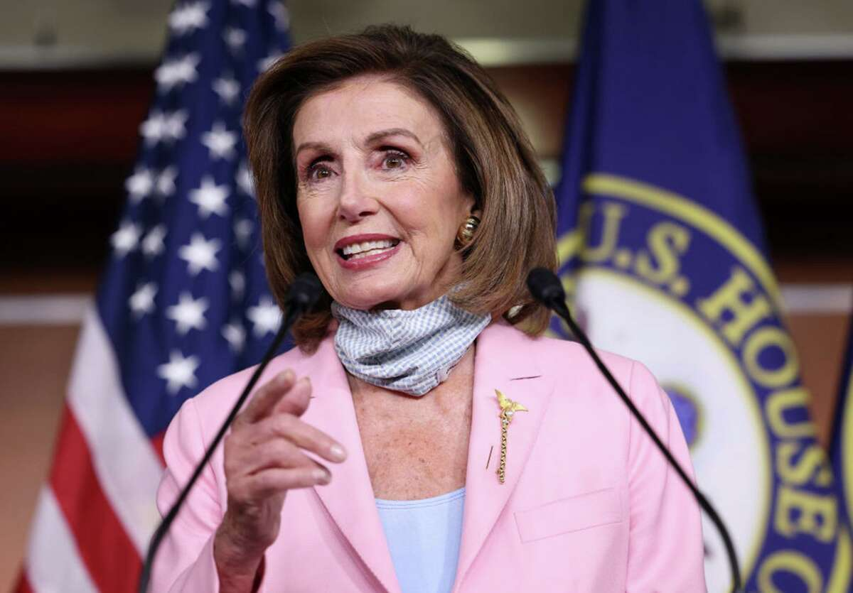 Speaker of the House Nancy Pelosi, D-Calif., at her weekly news conference at the U.S. Capitol on Aug. 25, 2021, in Washington, D.C. (Kevin Dietsch/Getty Images/TNS)