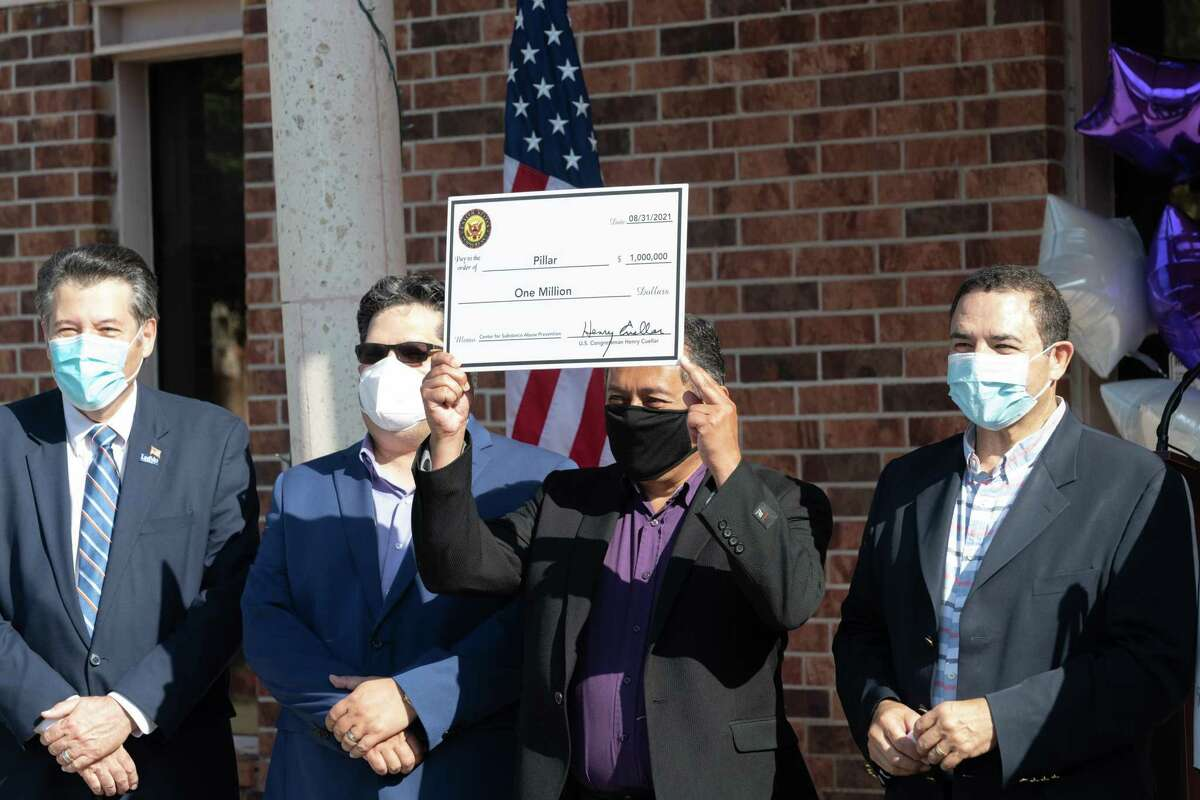 PILLAR staff and leadership gathered to receive $1 million in federal funds, spread over five years, to continue supporting mental health in Laredo.