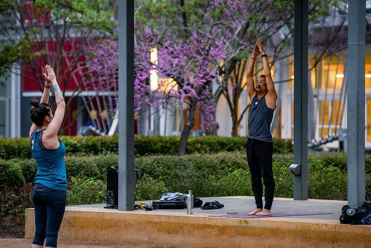 Core Fitness Yoga at Discovery Green.