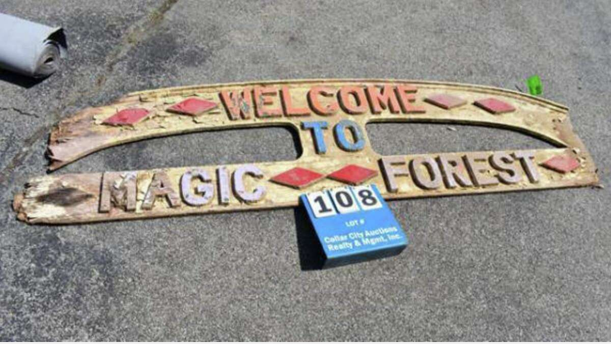 Jack Gillette, son of the late theme park guru Arthur Gillette, is putting his personal collection of artifacts and memorabilia on the auction block, including this sign from the former Magic Forest Theme Park in Lake George.