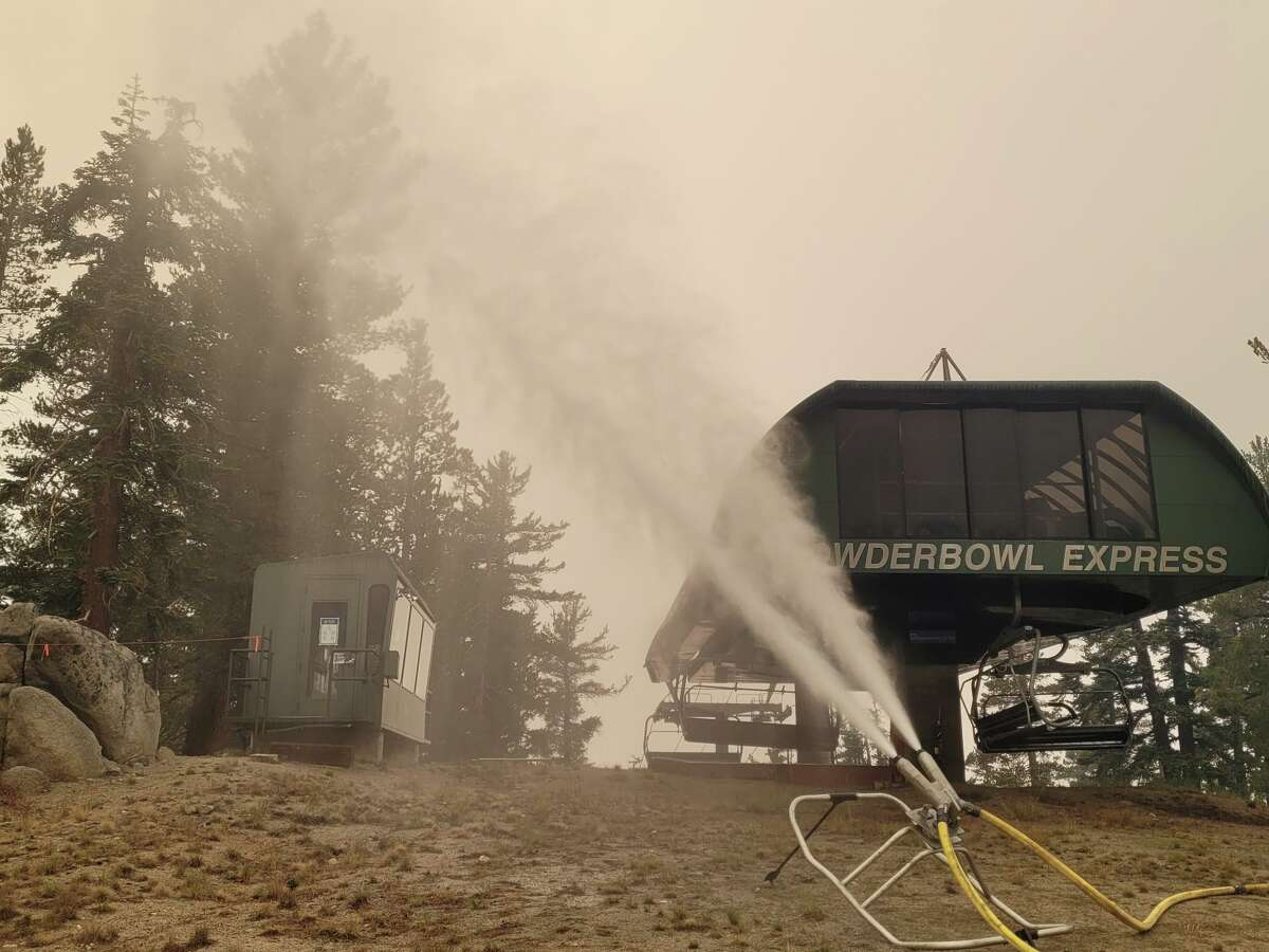 The Caldor Fire is approaching Heavenly Ski Resort in South Lake Tahoe. The ski resort has their snowmaking infrastructure up and running to spray down their lifts and buildings.