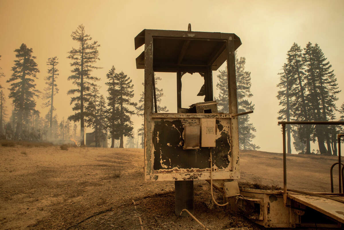 Lift machinery destroyed by the Caldor Fire is visible at the Sierra-at-Tahoe ski resort on Aug. 30, 2021.