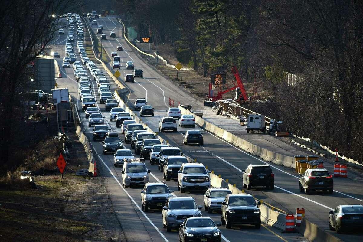 Construction on the Merritt Parkway in Westport last year.